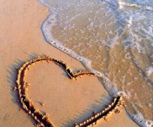 love, beach, and heart image