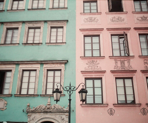 pink, house, and blue image