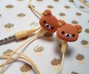 cute, bear, and earphones image