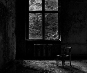 chair, dark, and alone image