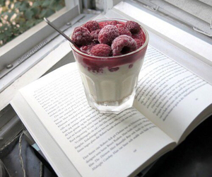 book, food, and raspberry image