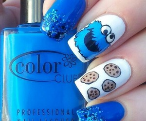 nails, blue, and cookie monster image