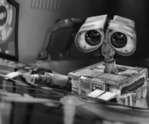 wall-e, cute, and black and white image