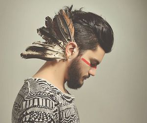 boy, feathers, and style image