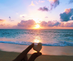 sea, summer, and sunrise image