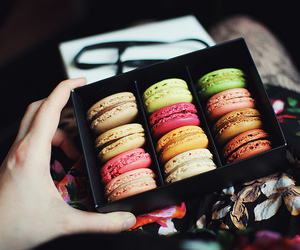 food, colors, and macarons image