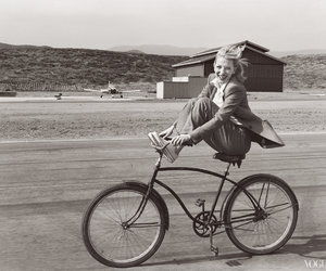bike, black and white, and bicycle image