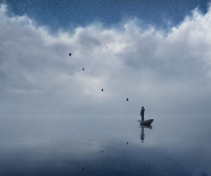 birds, boat, and blue image