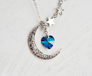 moon, necklace, and heart image
