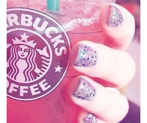 starbucks, nails, and pink image