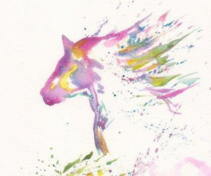horse, watercolor, and art image