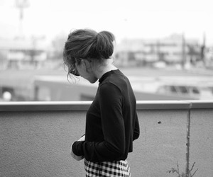 girl, fashion, and b&w image