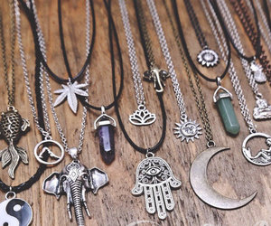 necklace, crystal, and moon image