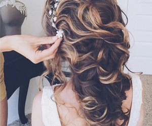 hair, wedding, and girl image