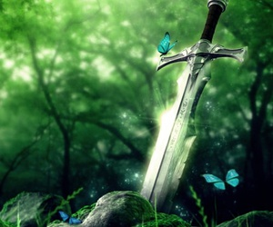 sword, forest, and butterfly image