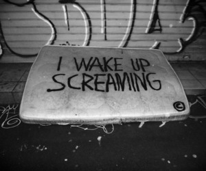 black and white, screaming, and wake up image