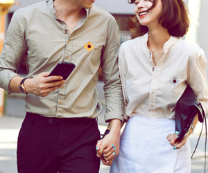 asian, blossom, and couple image