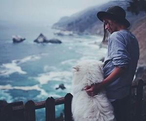 dog, girl, and sea image
