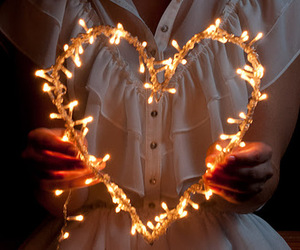 light, heart, and christmas image