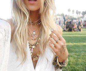 coachella, necklace, and hair image