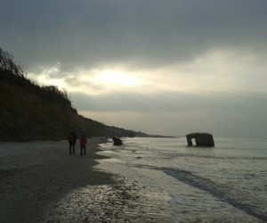 Baltic Sea, beach, and grey image