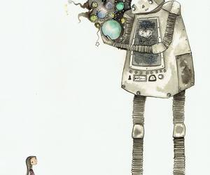 robot, girl, and space image