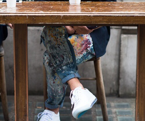 jeans, shoes, and painting image