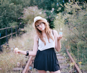 girl, glasses, and bubbles image