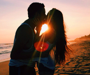 beach, girlfriend, and kiss image