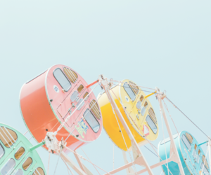 ferris wheel, sky, and blue image