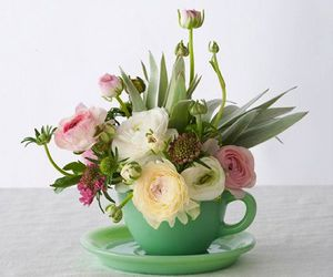 flowers, green, and pink image