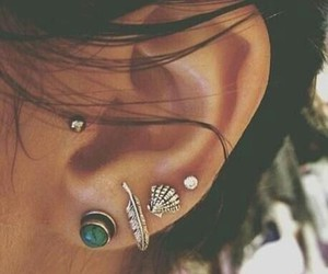 earrings, Piercings, and ears image