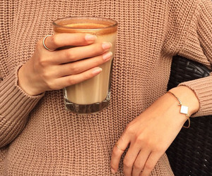 fashion, coffee, and sweater image