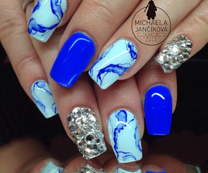 abstract design, beauty, and blue nails image