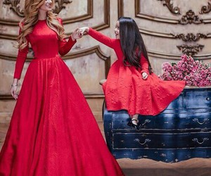 red, dress, and daughter image