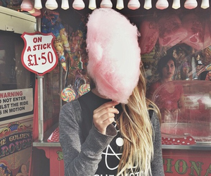 girl, pink, and cotton candy image