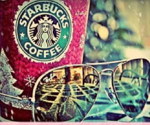 starbucks, coffee, and sunglasses image