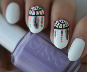 dreamcatcher, nails, and nailart image