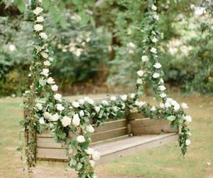 flowers, swing, and rose image