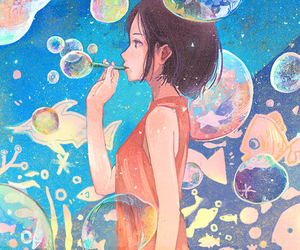anime, blue, and bubbles image