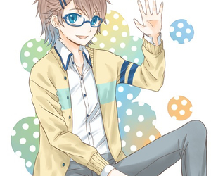 anime, blue eyes, and glasses image