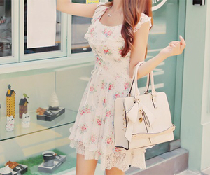 floral dress, purse, and kstyle image