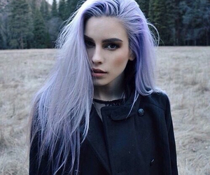 hair, girl, and purple image