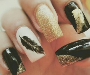 follow getsemani landa, nails or nailz, and feather black gold nails image