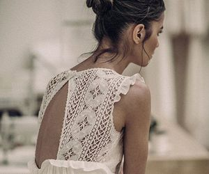 brunette, dress, and lace image