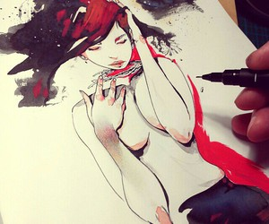 art, girl, and red image