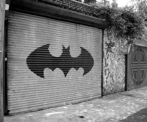 batman, garage, and black and white image