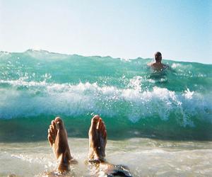 beach, sea, and feet image