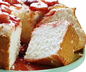 cake, angel food, and strawberry image