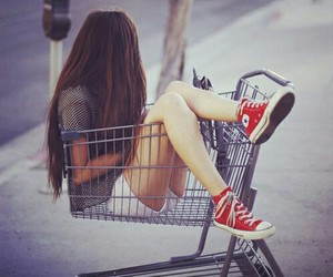 girl, converse, and hair image